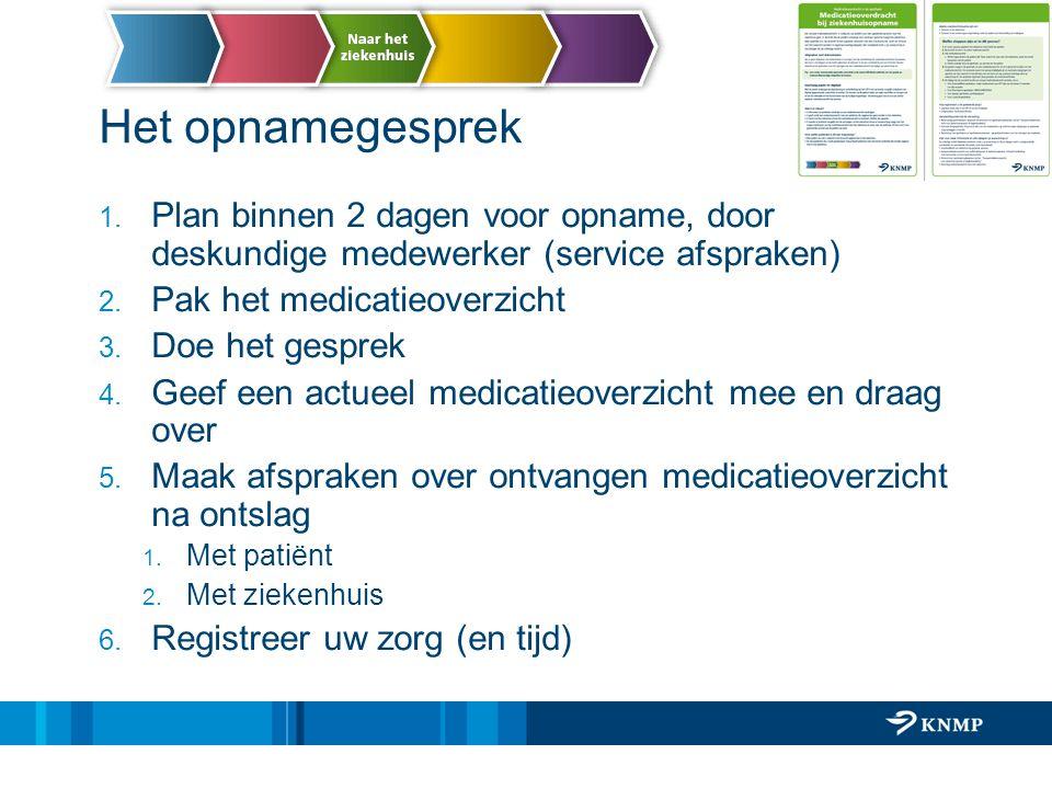 Het opnamegesprek Plan binnen 2 dagen voor opname, door deskundige medewerker (service afspraken) Pak het medicatieoverzicht.