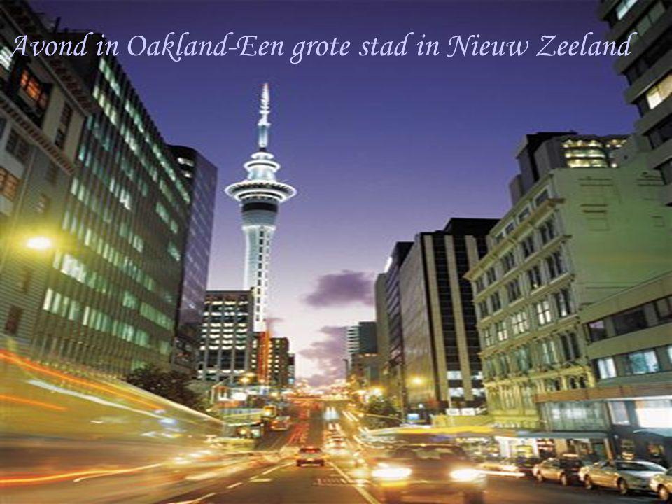 Avond in Oakland-Een grote stad in Nieuw Zeeland