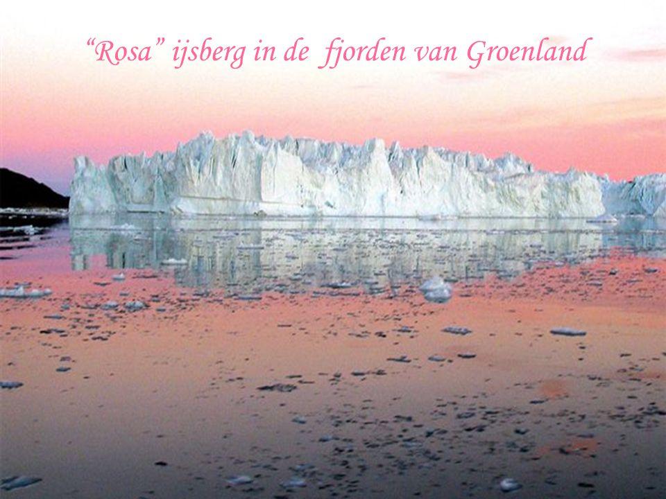 Rosa ijsberg in de fjorden van Groenland