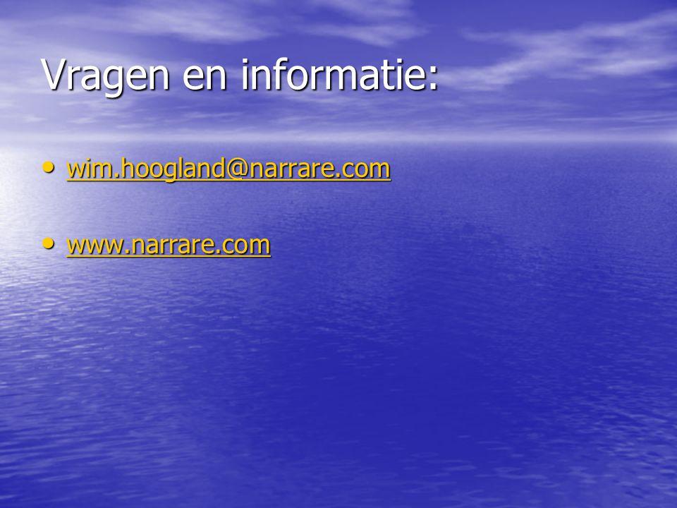 Vragen en informatie: wim.hoogland@narrare.com www.narrare.com