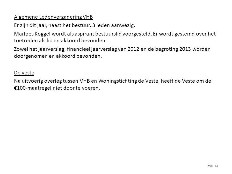 Algemene Ledenvergadering VHB Er zijn dit jaar, naast het bestuur, 3 leden aanwezig. Marloes Koggel wordt als aspirant bestuurslid voorgesteld. Er wordt gestemd over het toetreden als lid en akkoord bevonden. Zowel het jaarverslag, financieel jaarverslag van 2012 en de begroting 2013 worden doorgenomen en akkoord bevonden. De veste Na uitvoerig overleg tussen VHB en Woningstichting de Veste, heeft de Veste om de €100-maatregel niet door te voeren.