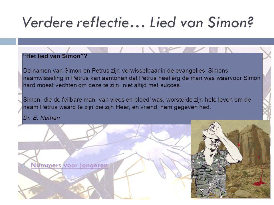Verdere reflectie… Lied van Simon