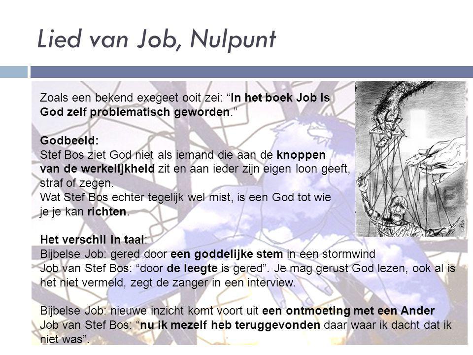 Lied van Job, Nulpunt Zoals een bekend exegeet ooit zei: In het boek Job is. God zelf problematisch geworden.