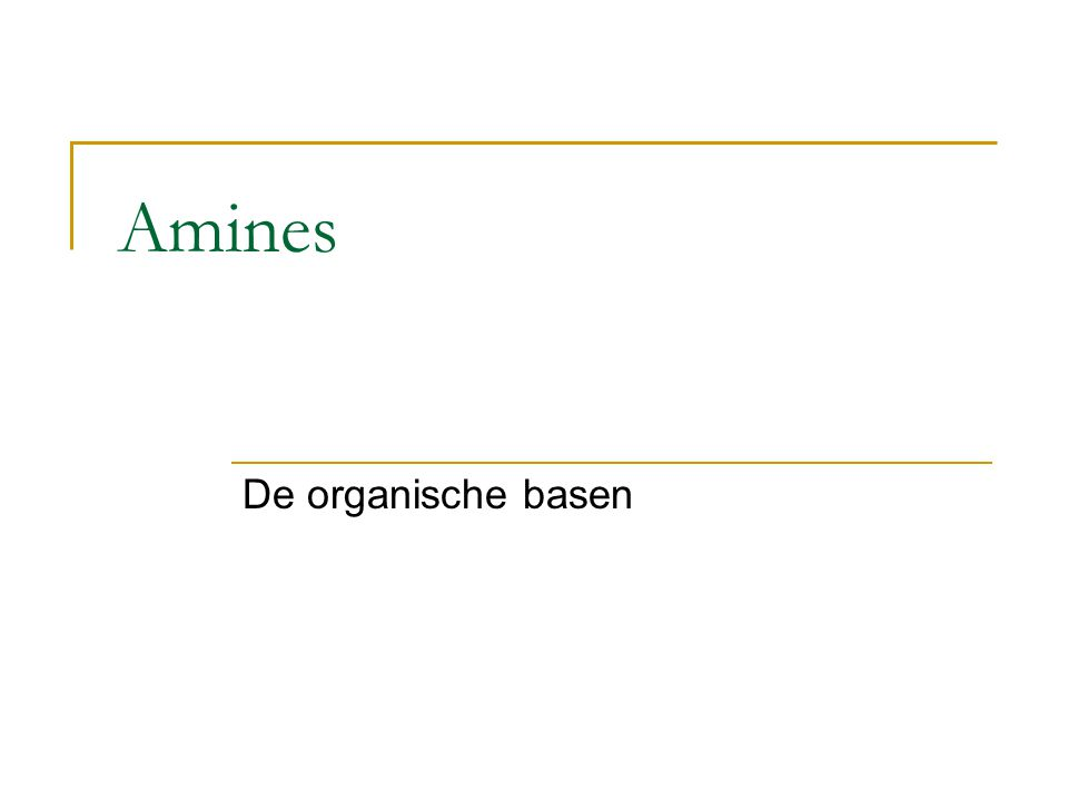 Amines De organische basen