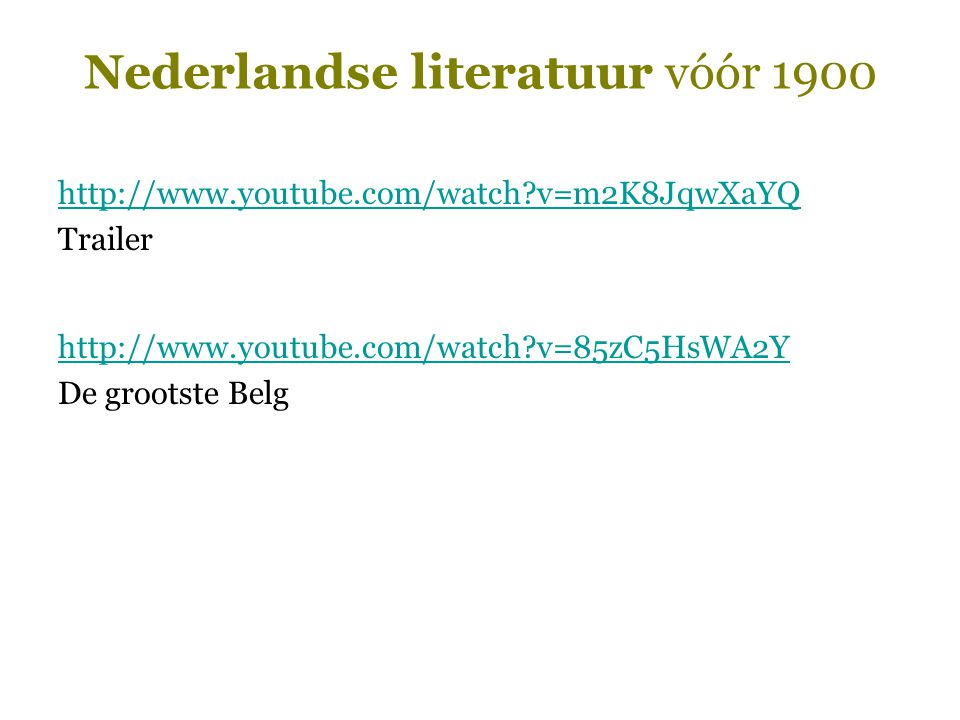Nederlandse literatuur vóór 1900