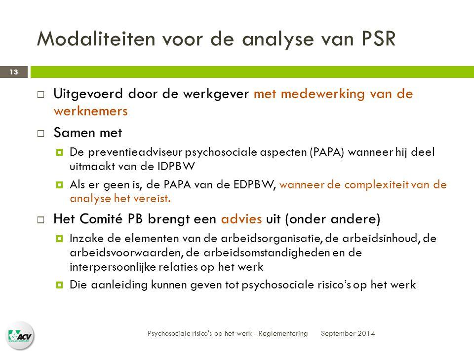 Modaliteiten voor de analyse van PSR