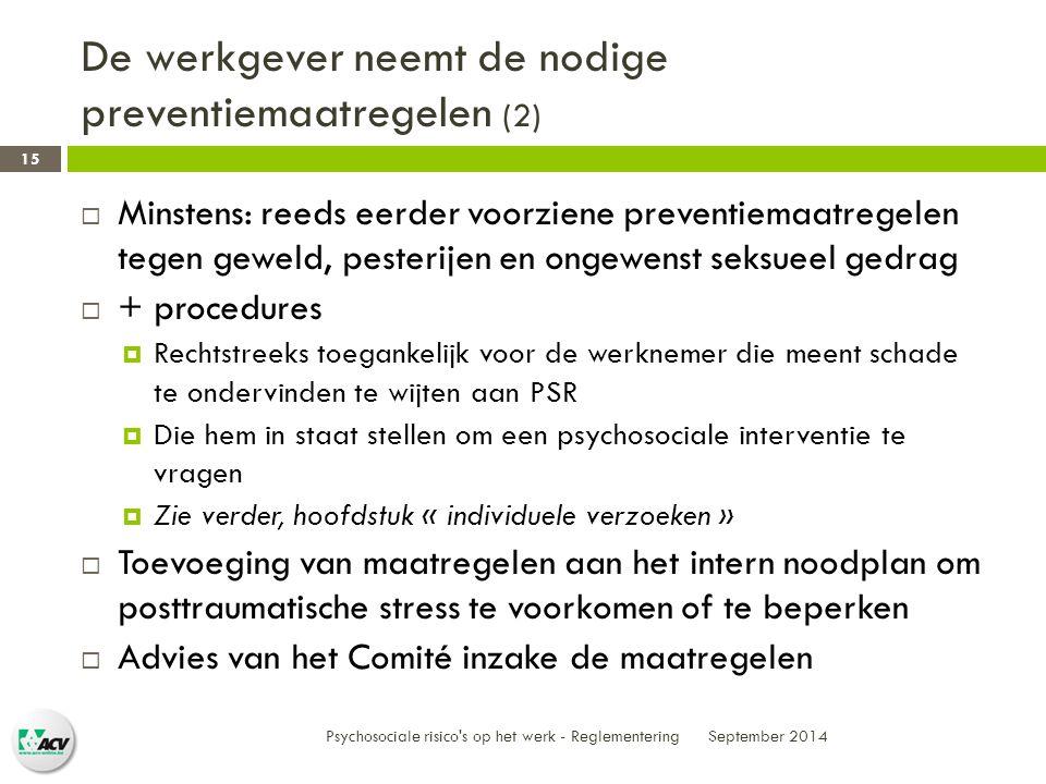 De werkgever neemt de nodige preventiemaatregelen (2)
