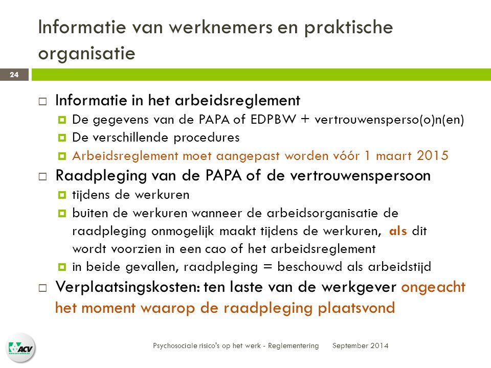Informatie van werknemers en praktische organisatie