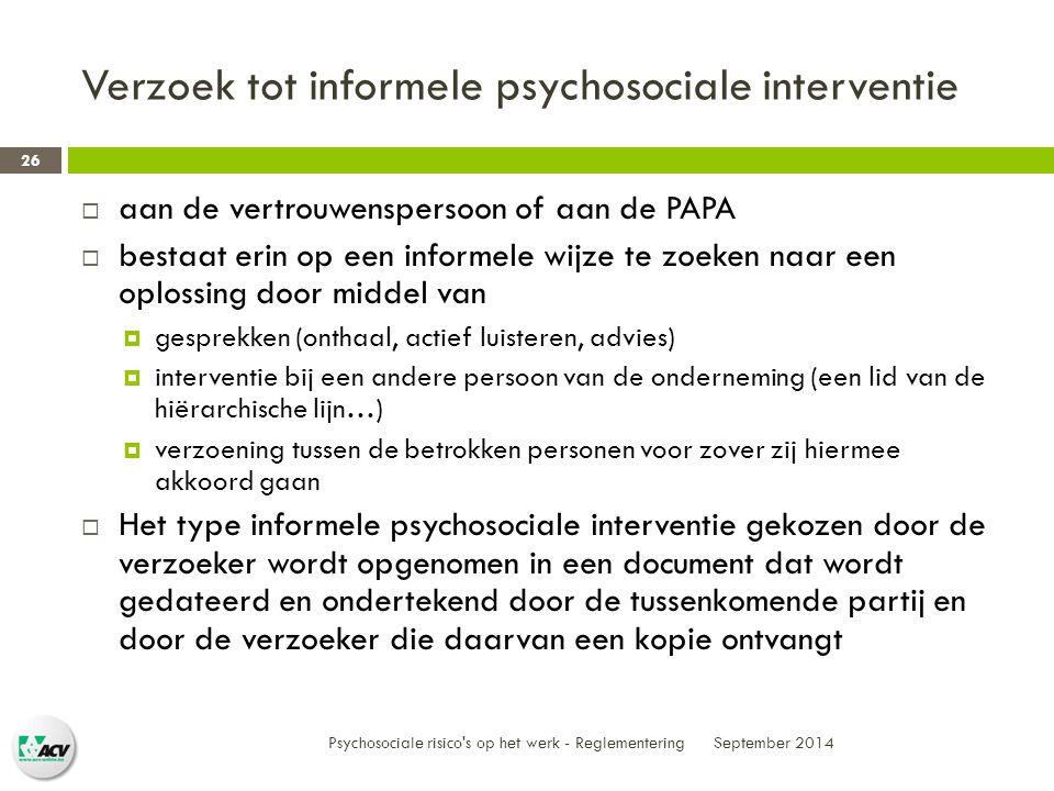 Verzoek tot informele psychosociale interventie
