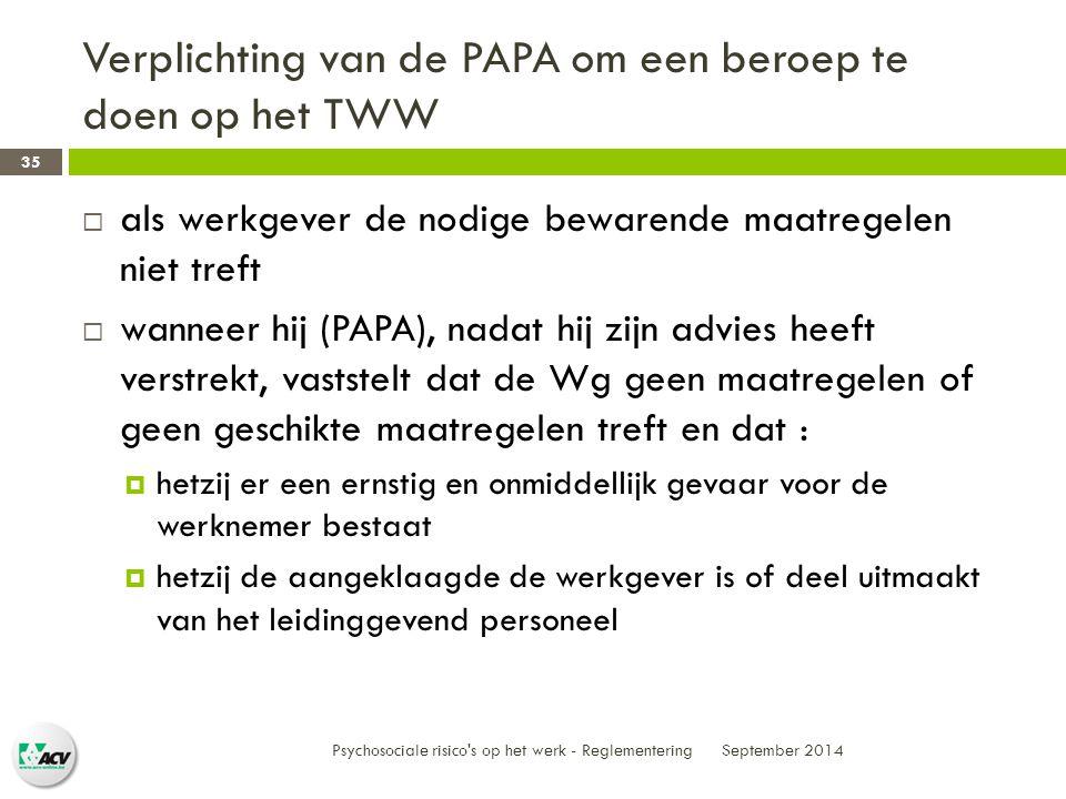 Verplichting van de PAPA om een beroep te doen op het TWW