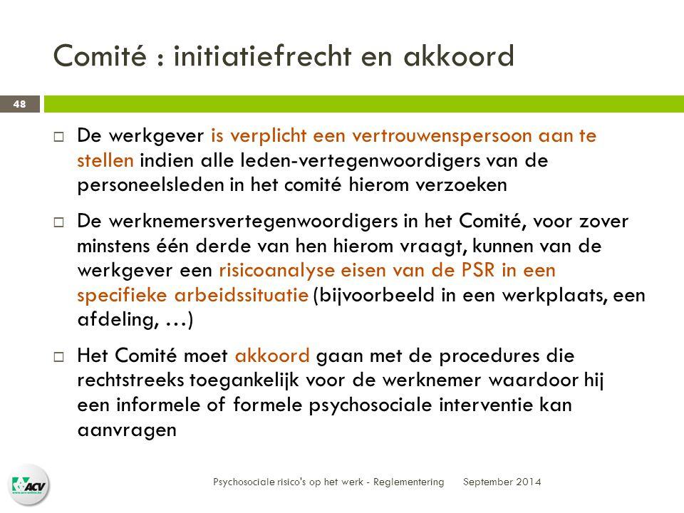 Comité : initiatiefrecht en akkoord