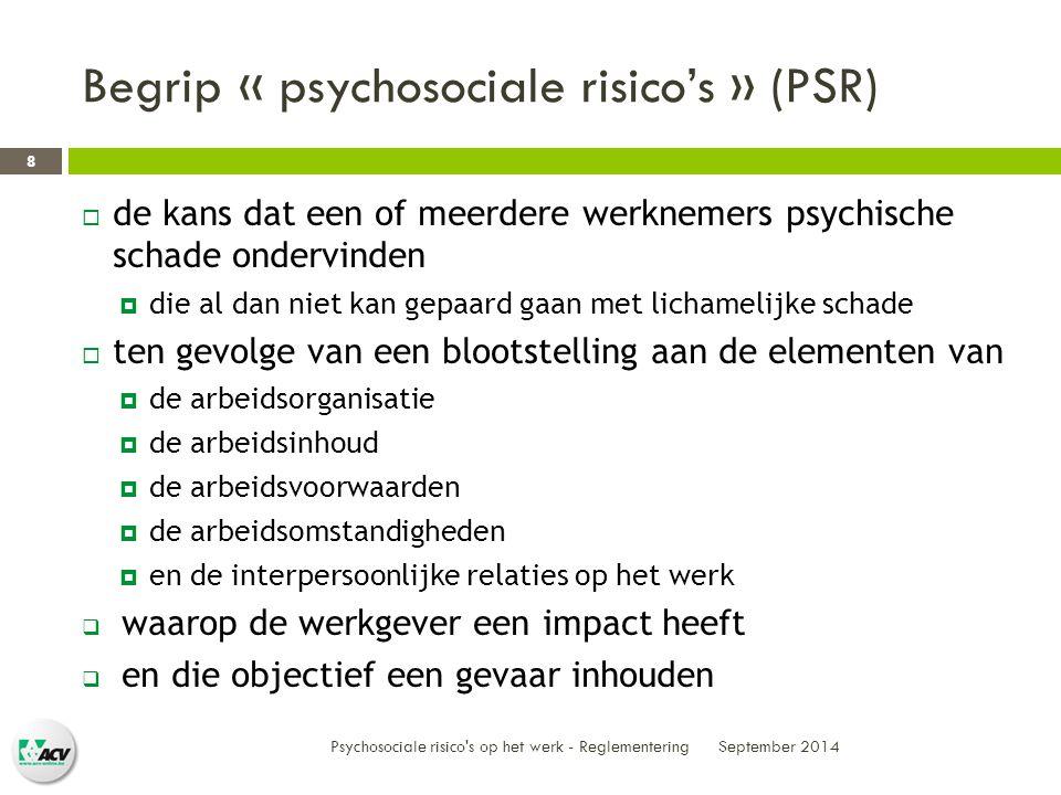 Begrip « psychosociale risico's » (PSR)