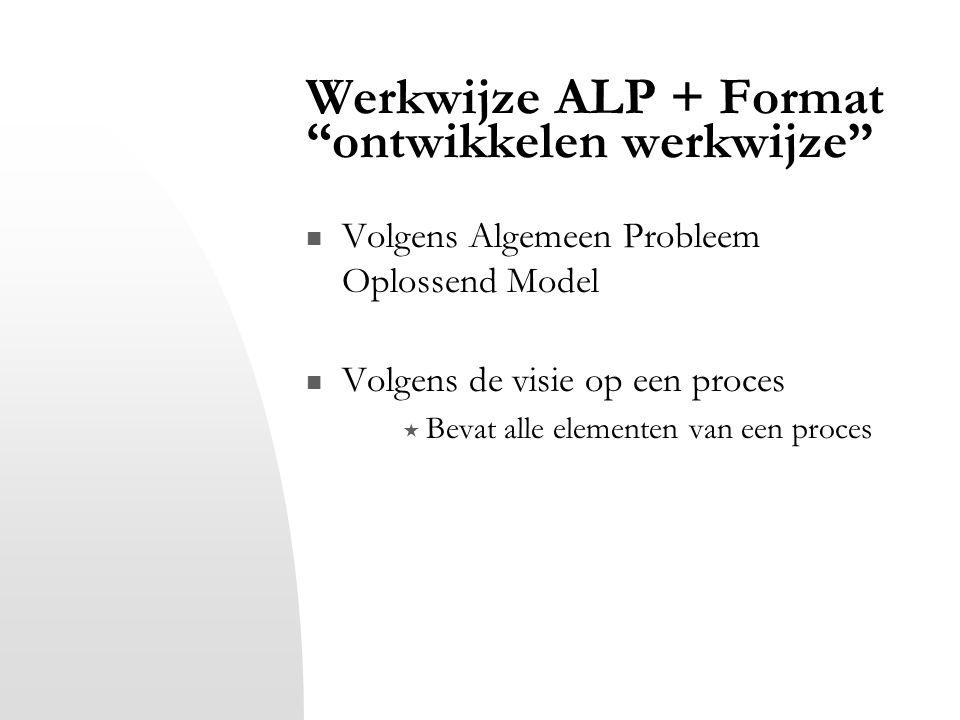 Werkwijze ALP + Format ontwikkelen werkwijze