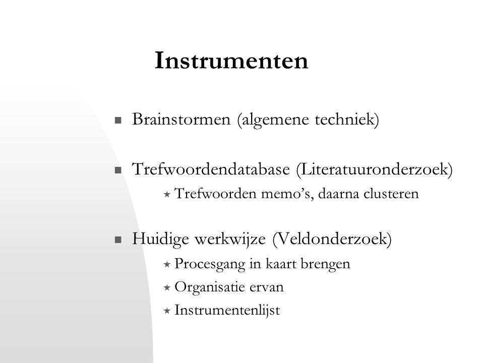 Instrumenten Brainstormen (algemene techniek)