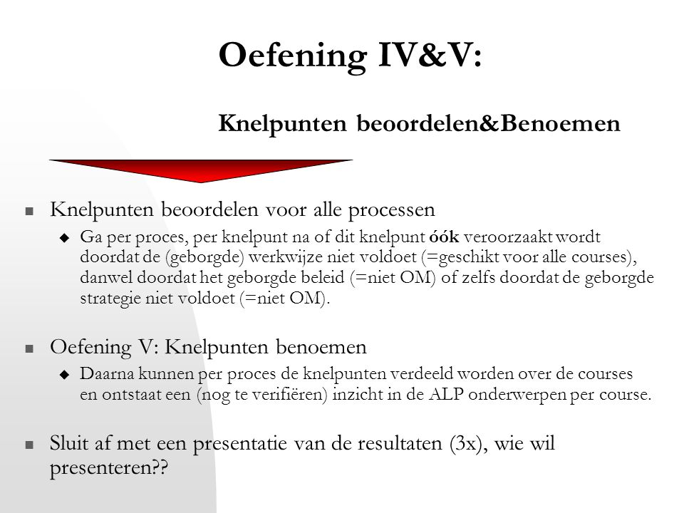 Oefening IV&V: Knelpunten beoordelen&Benoemen