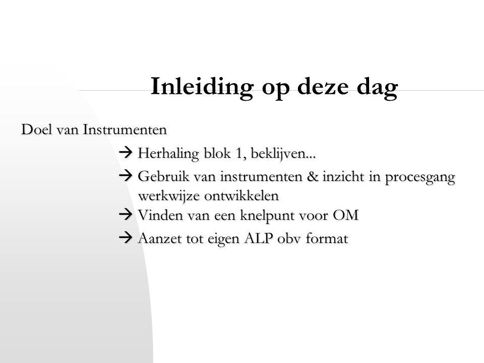 Inleiding op deze dag Doel van Instrumenten