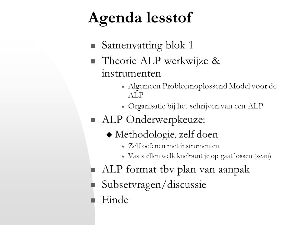 Agenda lesstof Samenvatting blok 1