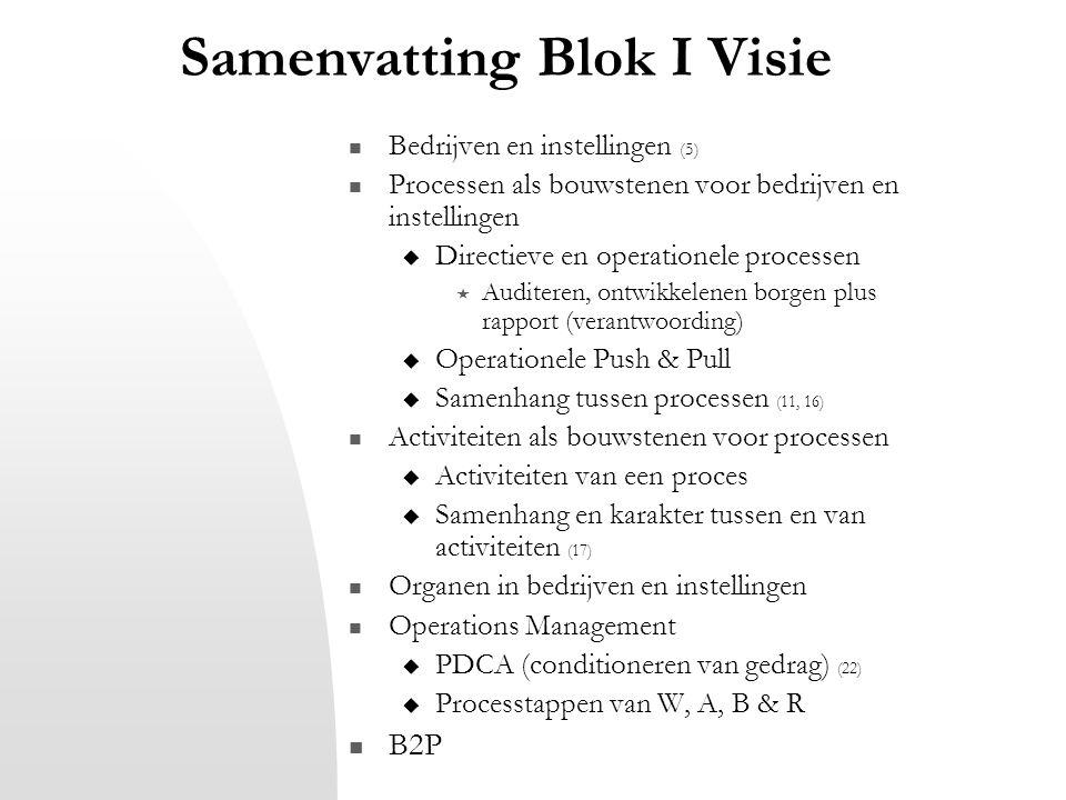 Samenvatting Blok I Visie