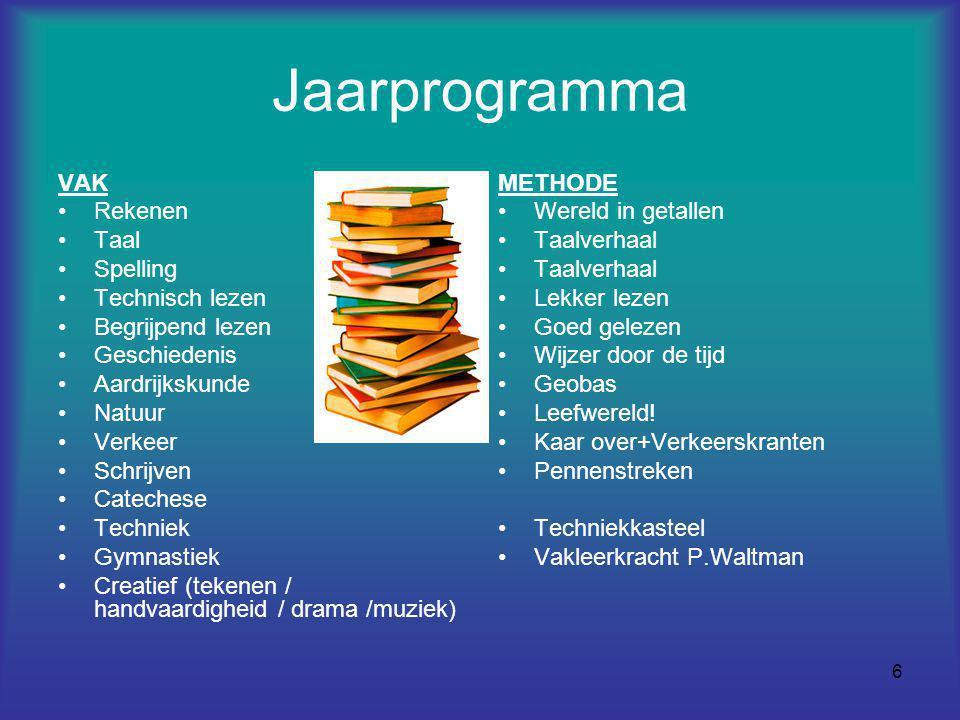 Jaarprogramma VAK Rekenen Taal Spelling Technisch lezen