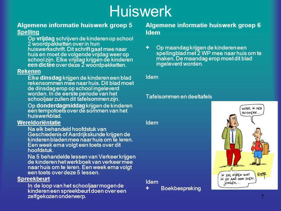 Huiswerk Algemene informatie huiswerk groep 5