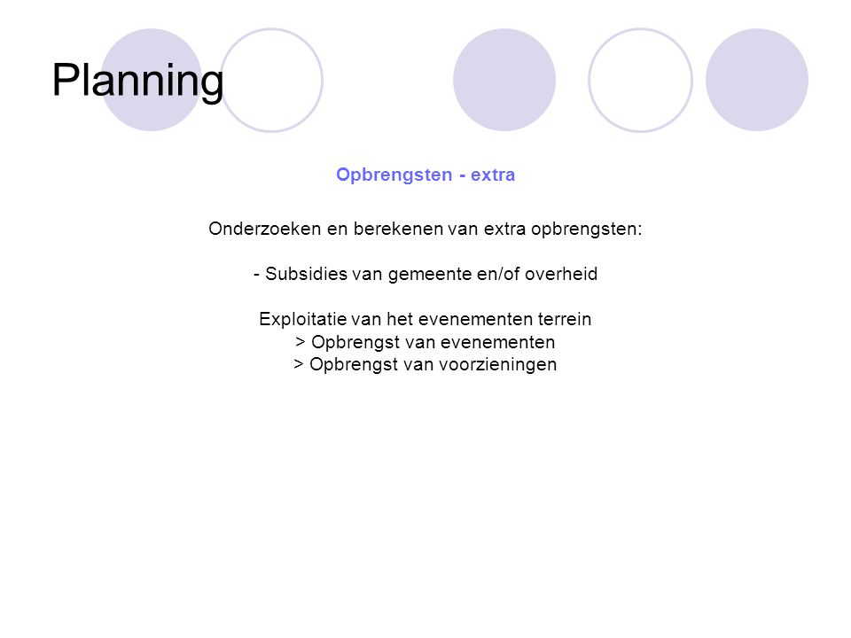 Planning Opbrengsten - extra