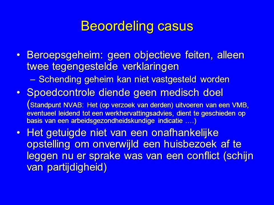 Beoordeling casus Beroepsgeheim: geen objectieve feiten, alleen twee tegengestelde verklaringen. Schending geheim kan niet vastgesteld worden.