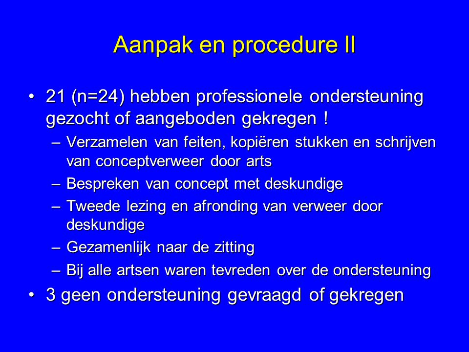 Aanpak en procedure II 21 (n=24) hebben professionele ondersteuning gezocht of aangeboden gekregen !