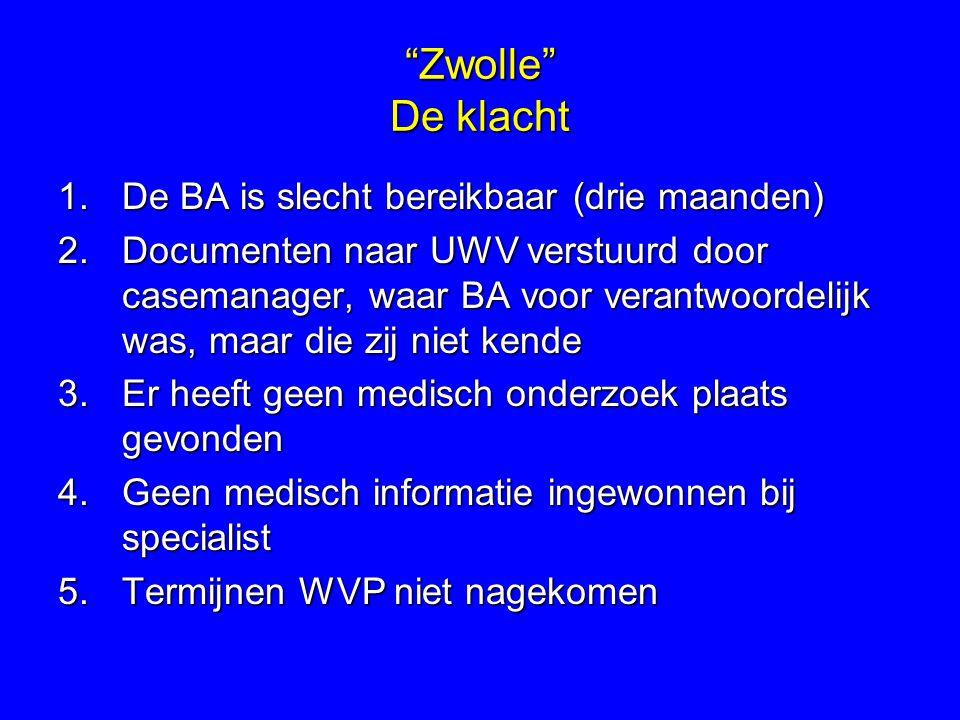 Zwolle De klacht De BA is slecht bereikbaar (drie maanden)