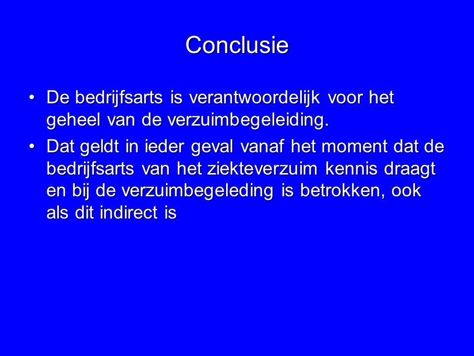 Conclusie De bedrijfsarts is verantwoordelijk voor het geheel van de verzuimbegeleiding.