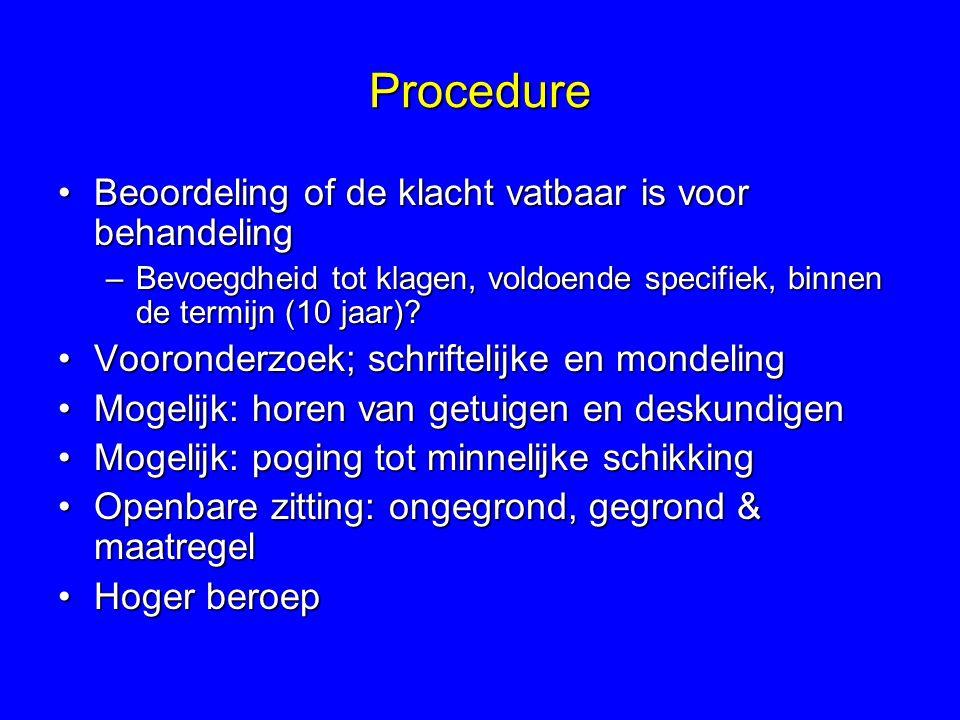Procedure Beoordeling of de klacht vatbaar is voor behandeling