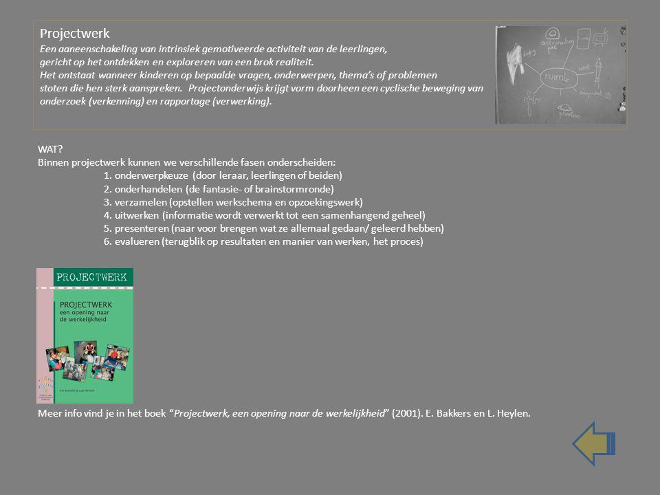 Projectwerk Een aaneenschakeling van intrinsiek gemotiveerde activiteit van de leerlingen, gericht op het ontdekken en exploreren van een brok realiteit. Het ontstaat wanneer kinderen op bepaalde vragen, onderwerpen, thema's of problemen stoten die hen sterk aanspreken. Projectonderwijs krijgt vorm doorheen een cyclische beweging van onderzoek (verkenning) en rapportage (verwerking).