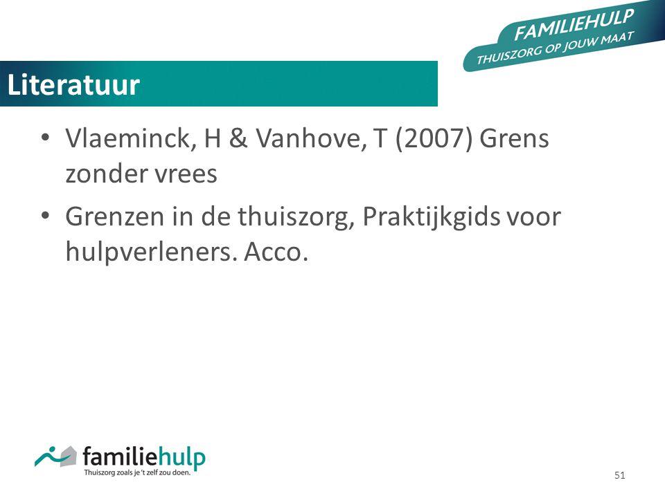 Literatuur Vlaeminck, H & Vanhove, T (2007) Grens zonder vrees