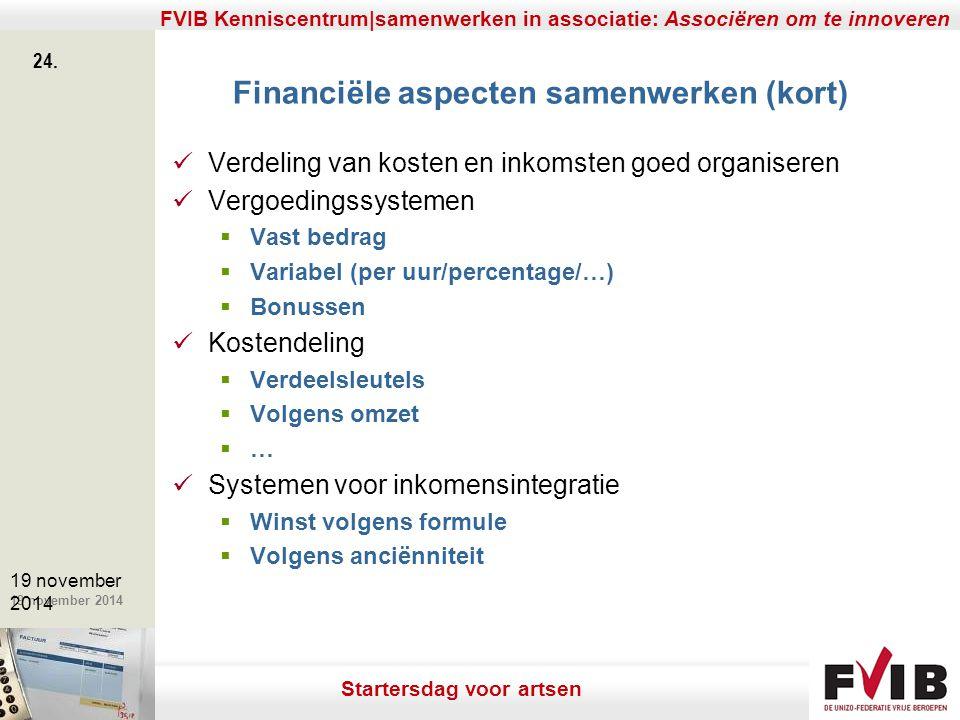 Financiële aspecten samenwerken (kort)