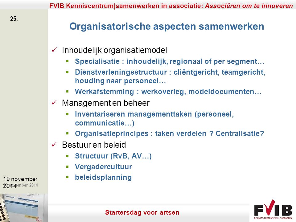 Organisatorische aspecten samenwerken