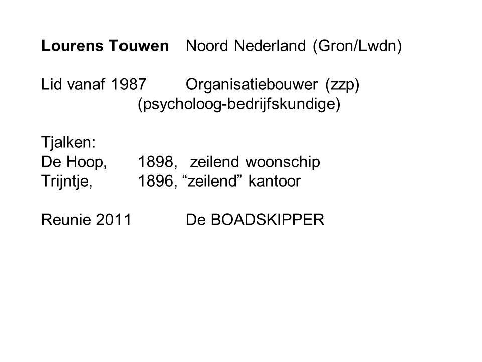 Lourens Touwen. Noord Nederland (Gron/Lwdn) Lid vanaf 1987