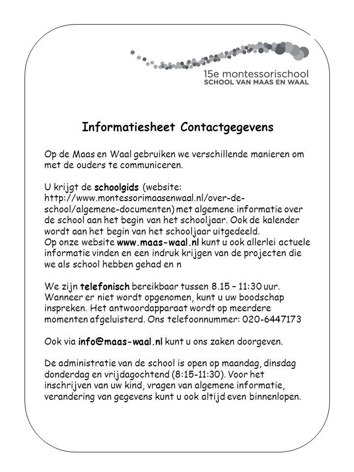 Informatiesheet Contactgegevens