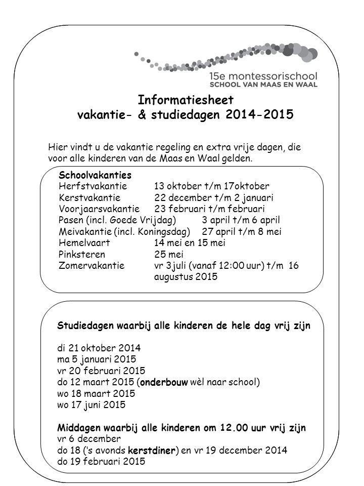 vakantie- & studiedagen 2014-2015