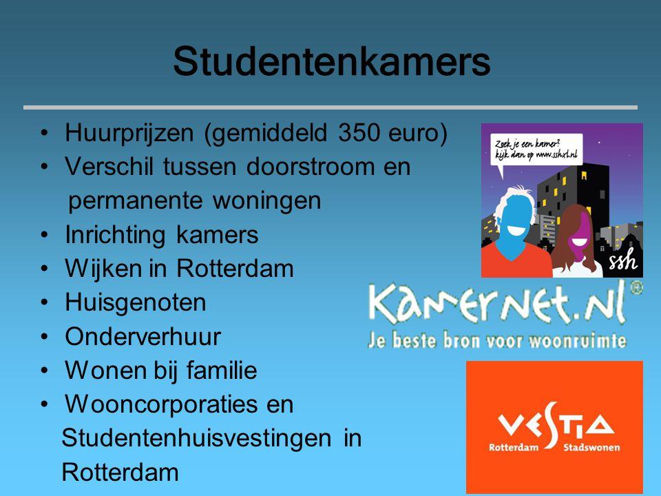 Studentenkamers Huurprijzen (gemiddeld 350 euro)