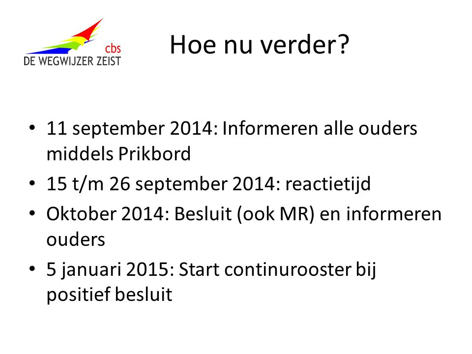 Hoe nu verder 11 september 2014: Informeren alle ouders middels Prikbord. 15 t/m 26 september 2014: reactietijd.