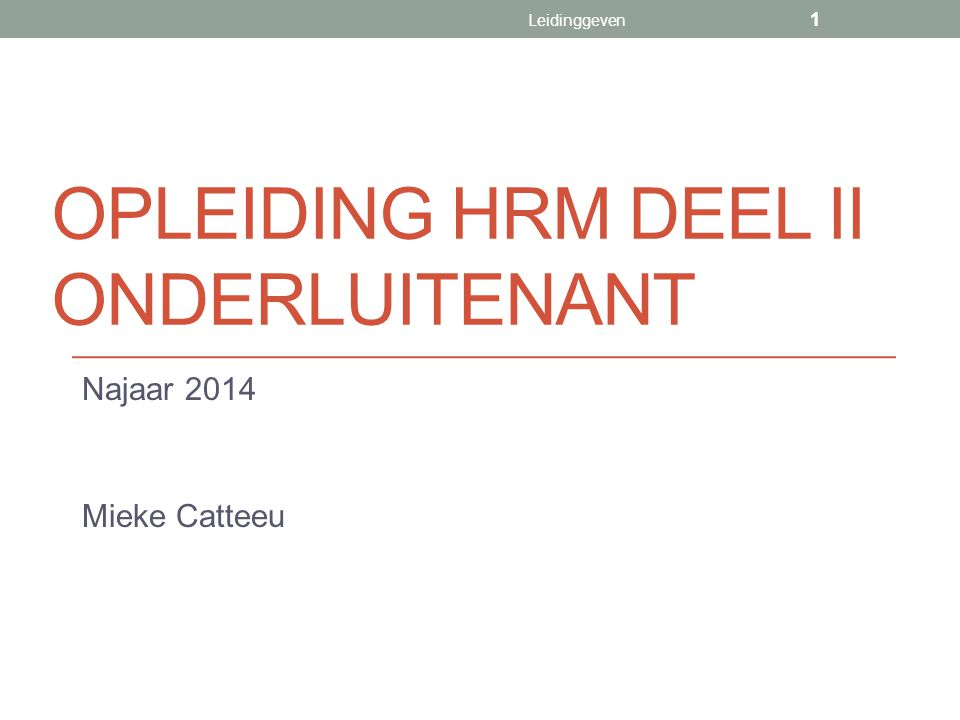 Opleiding HRM deel II onderluitenant