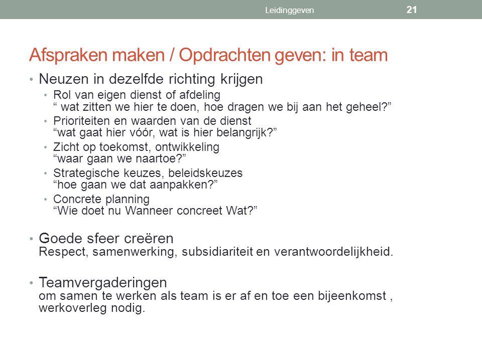 Afspraken maken / Opdrachten geven: in team