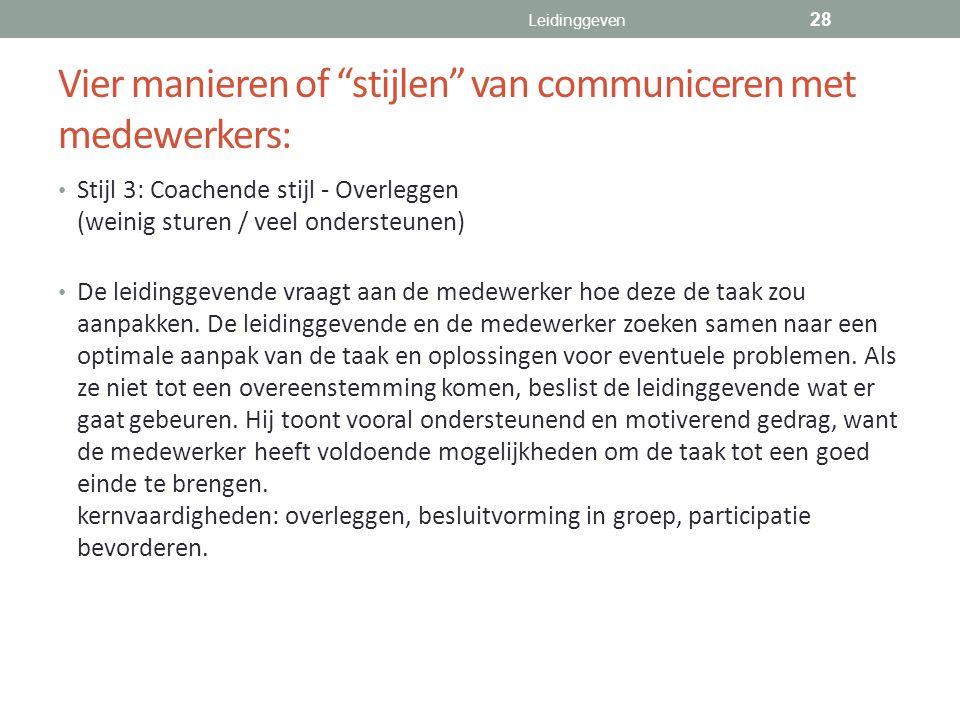 Vier manieren of stijlen van communiceren met medewerkers: