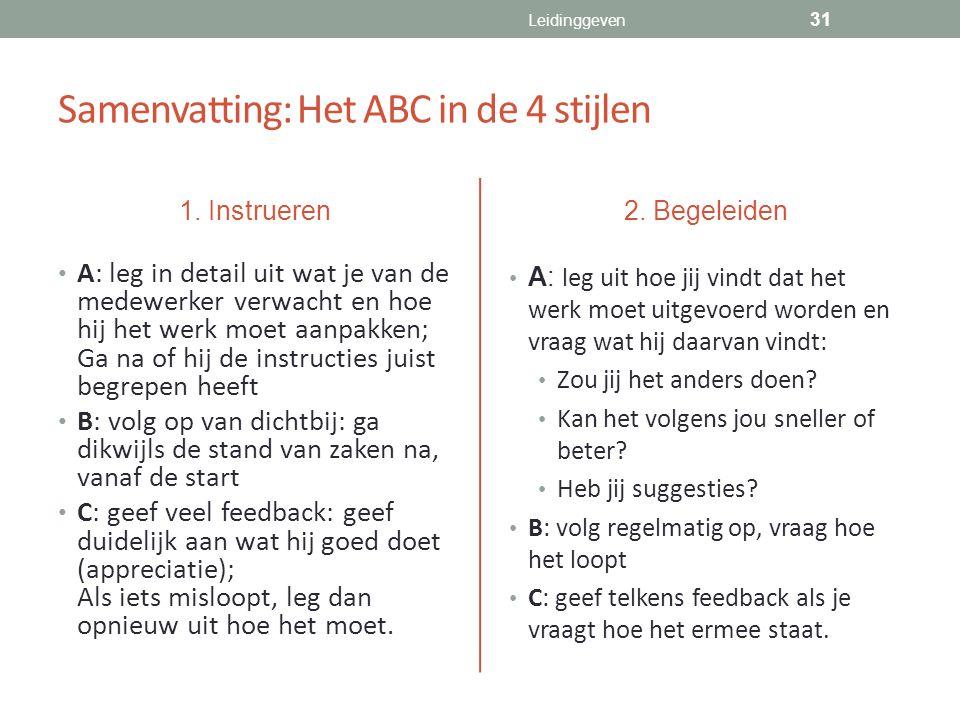 Samenvatting: Het ABC in de 4 stijlen