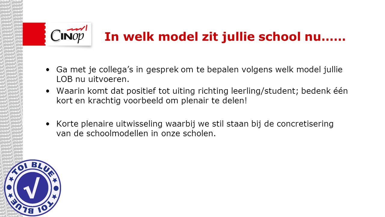 In welk model zit jullie school nu……