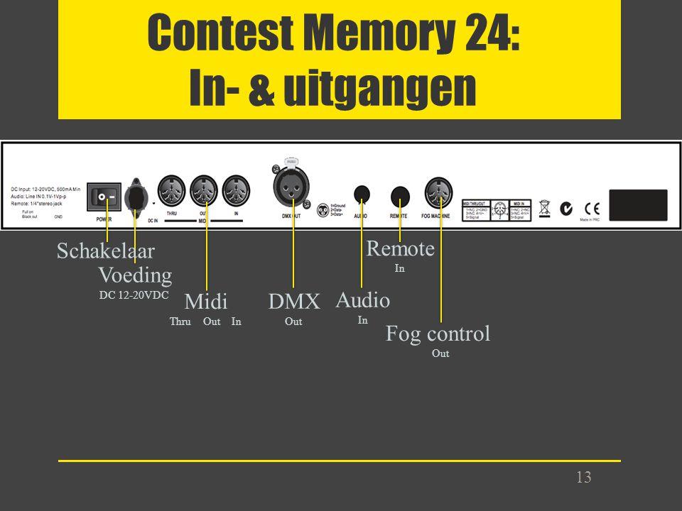 Contest Memory 24: In- & uitgangen