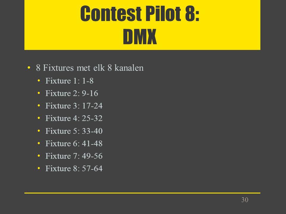 Contest Pilot 8: DMX 8 Fixtures met elk 8 kanalen Fixture 1: 1-8