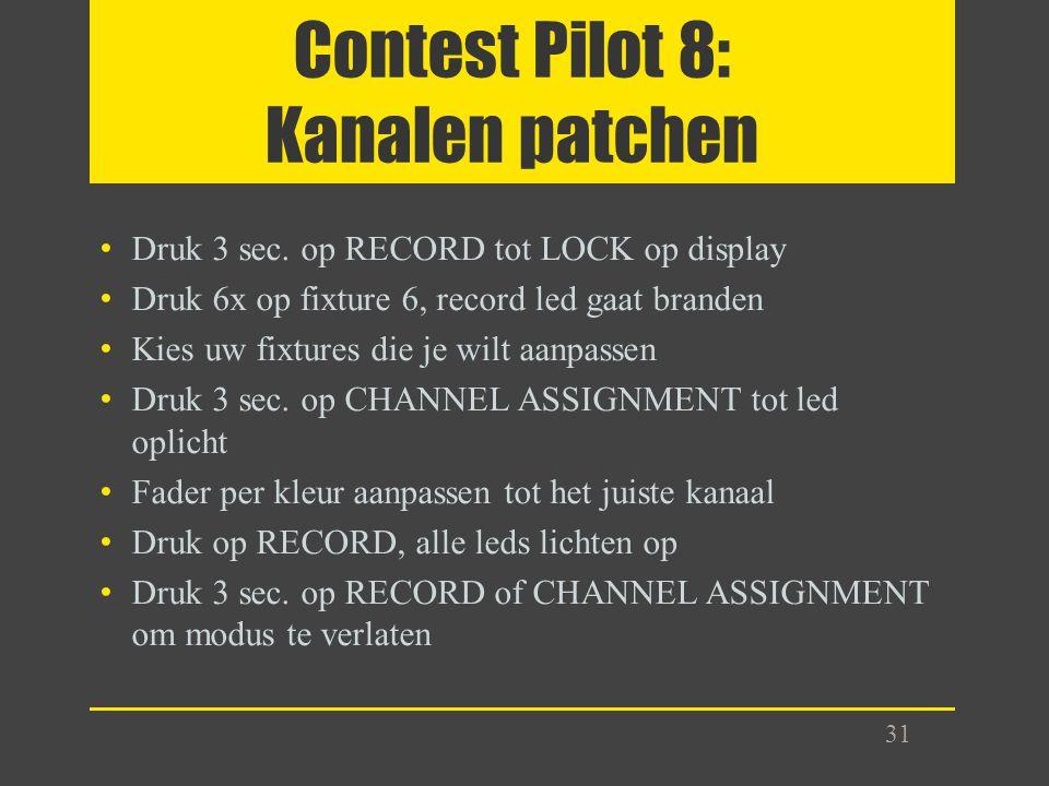 Contest Pilot 8: Kanalen patchen