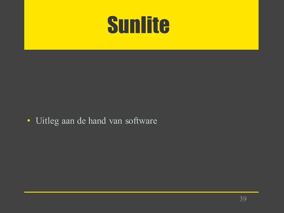 Sunlite Uitleg aan de hand van software