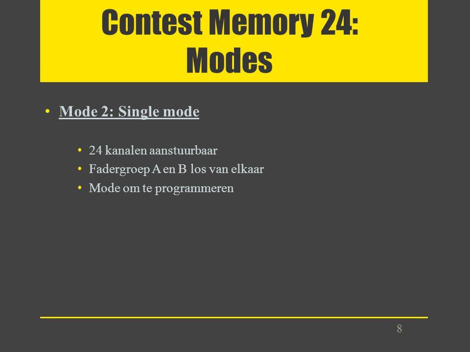 Contest Memory 24: Modes Mode 2: Single mode 24 kanalen aanstuurbaar