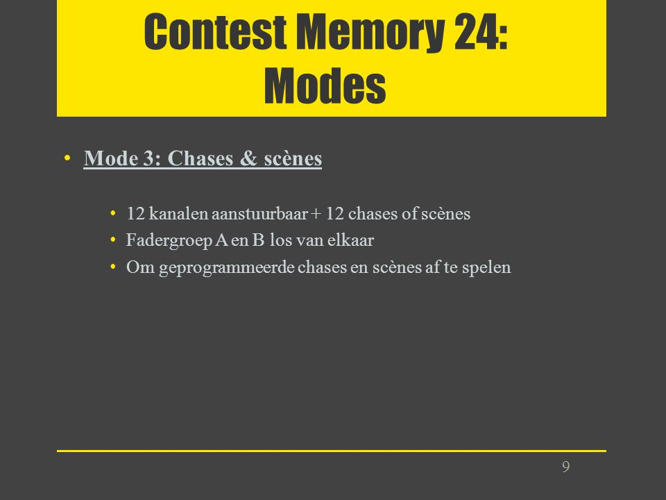 Contest Memory 24: Modes Mode 3: Chases & scènes